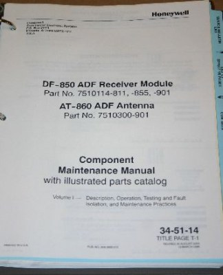 Détails : Honeywell DF-850 ADF Receiver + AT-860 Antenna Component  Maintenance Manual Vol1